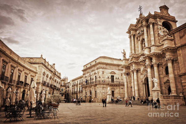 Wall Art - Photograph - Piazza Del Duomo In Syracuse Italy by Delphimages Photo Creations