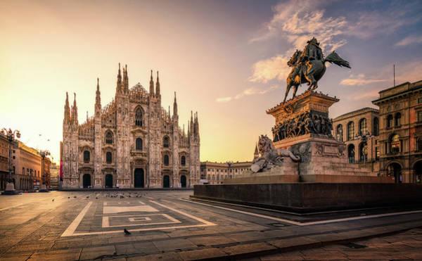 Photograph - Piazza Del Duomo - Milan, Italy by Nico Trinkhaus