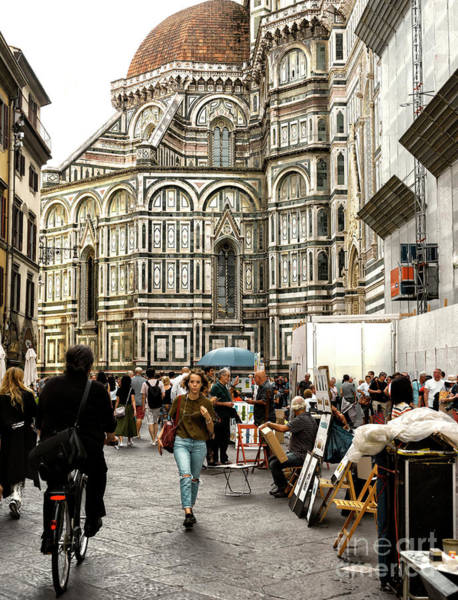 Photograph - Piazza Del Duomo Streets In Florence by John Rizzuto