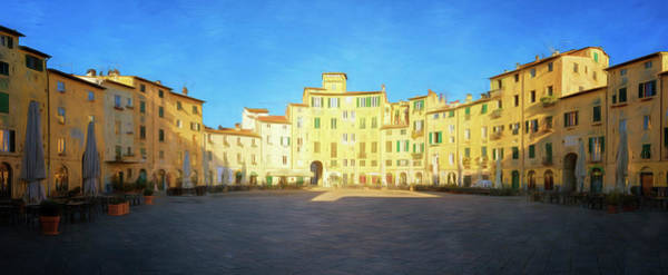 Photograph - Piazza Dell'anfiteatro Lucca Italy Panorama Painterly by Joan Carroll