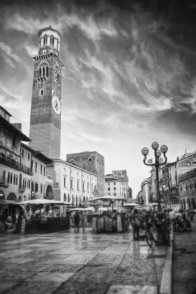 Wall Art - Photograph - Piazza Delle Erbe Verona Italy Black And White by Carol Japp