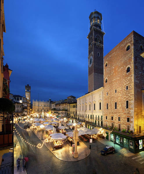 Town Square Wall Art - Photograph - Piazza Delle Erbe, Verona, Veneto, Italy by Slow Images