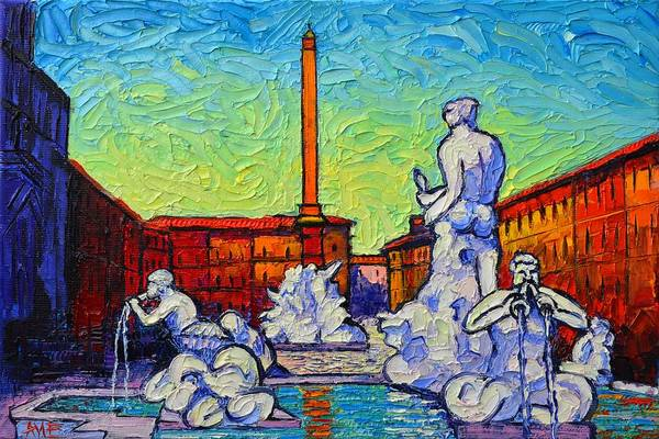 Painting - Piazza Navona Rome Italy Modern Impressionist Textural Impasto Knife Oil Painting Ana Maria Edulescu by Ana Maria Edulescu