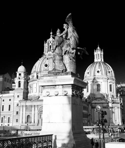 Photograph - Piazza Venezia Shadows Rome by John Rizzuto