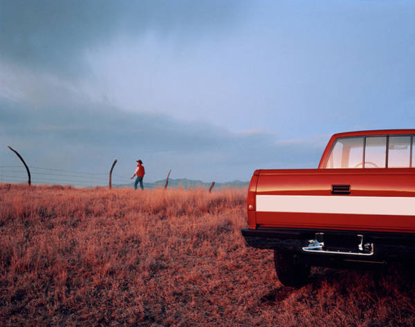 Off-road Vehicles Photograph - Pick-up Truck, Cowboy Standing By by Rick Rusing