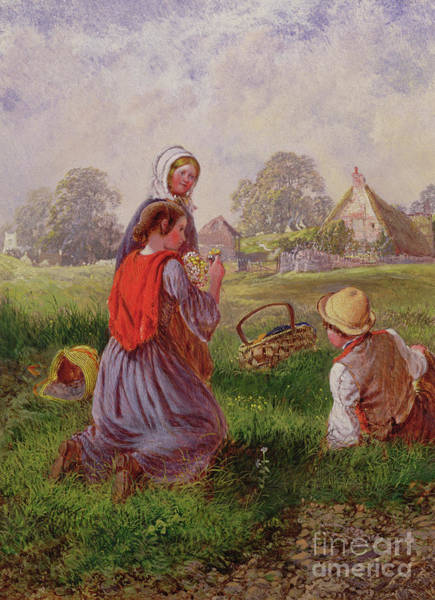 Wall Art - Painting - Picking Flowers by Alfred H Green