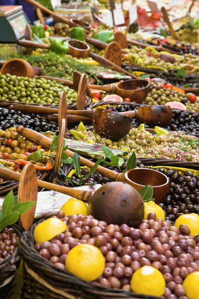 Delicatessen Photograph - Pickled Olives At The Weekly Market In by Rainer & Simone Hoffmann