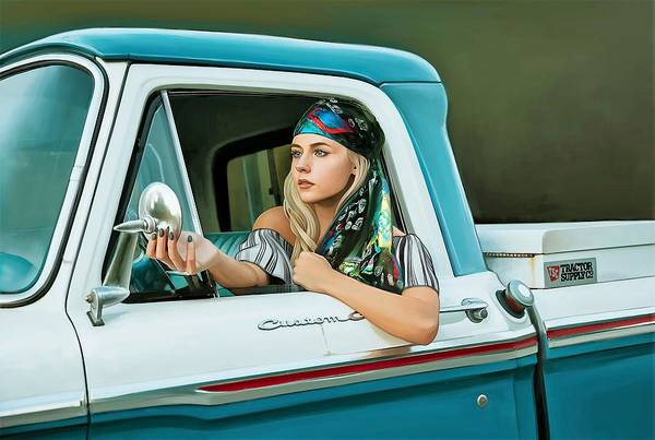 Truck Painting - Pickup Truck And Girl by ArtMarketJapan