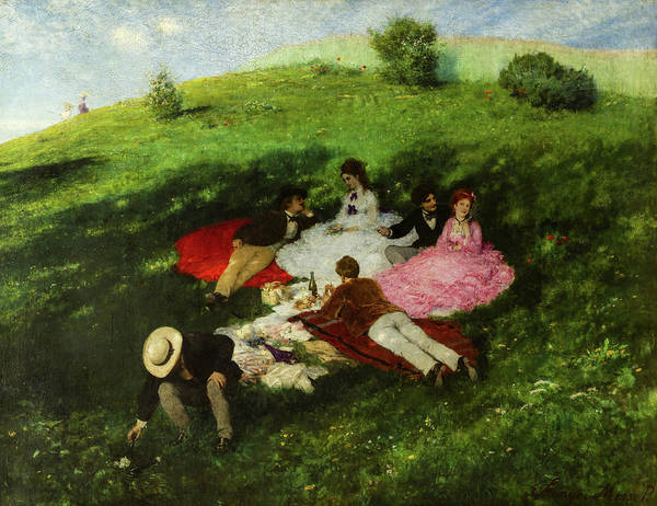 Wall Art - Painting - Picnic In May, 1873 by Pal Szinyei Merse