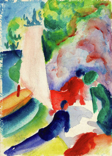 Wall Art - Painting - Picnic On The Beach - Digital Remastered Edition by August Macke