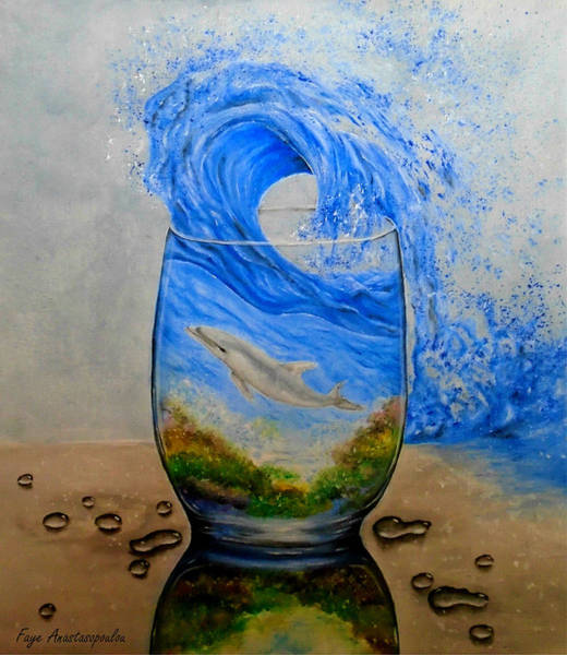 Wall Art - Painting - A Glass Of Ocean by Faye Anastasopoulou