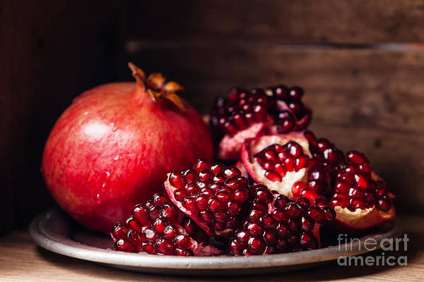 Raw Wall Art - Photograph - Pieces And Grains Of Ripe Pomegranate by Lisovskaya Natalia