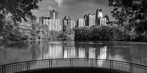 Photograph - Piedmont Park Panorama - Atlanta Skyline In Black And White by Gregory Ballos