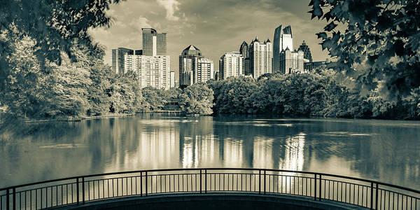 Wall Art - Photograph - Piedmont Park Panorama - Atlanta Skyline In Sepia by Gregory Ballos