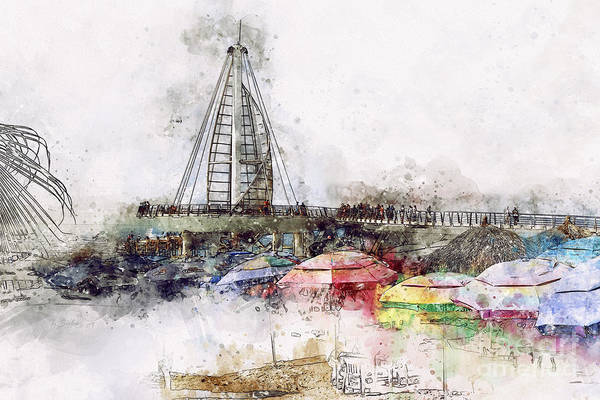 Digital Art - Pier And Colorful Umbrellas by Teresa Zieba