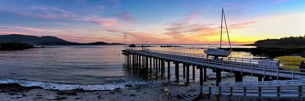 Stillwater Photograph - Pier And Sailboat At Sunset by Panoramic Images