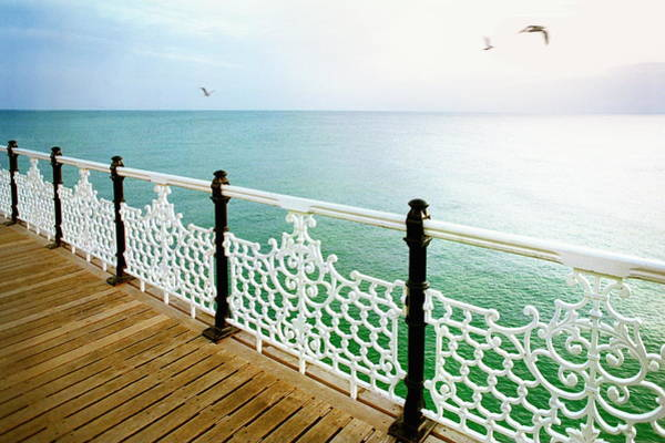 English Culture Photograph - Pier And Seagulls, Evening by Andre Lichtenberg