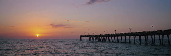 Wall Art - Photograph - Pier At Sunset, Gulf Of Mexico, Venice by Panoramic Images