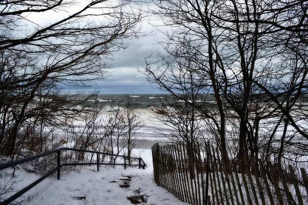 Photograph - Pier Cove Beach With Winter Waves by Michelle Calkins