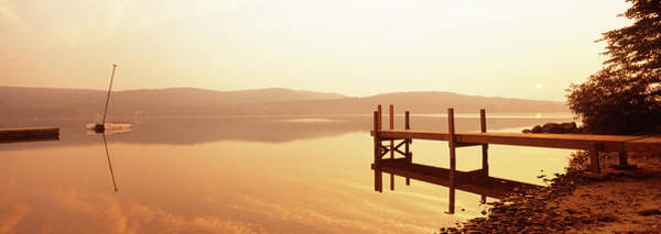 Wall Art - Photograph - Pier On A Lake At Sunset, Pleasant by Panoramic Images