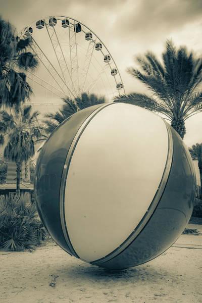 Photograph - Pier Park Beach Ball And Ferris Wheel - Panama City Beach Florida Sepia by Gregory Ballos