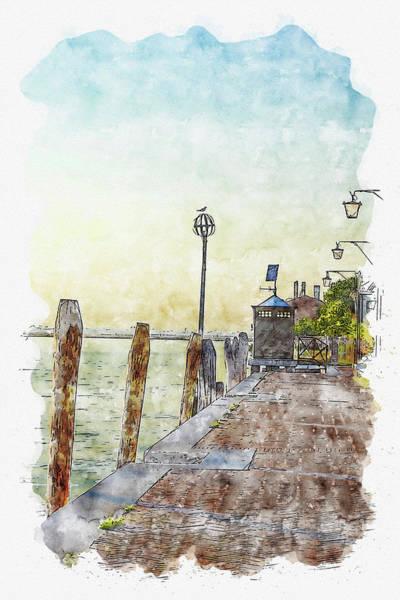 Lagoon Digital Art - Pier #watercolor #sketch #pier #venice by TintoDesigns