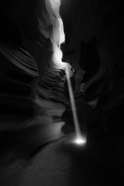 Photograph - Piercing The Darkness - Antelope Canyon Light - Monochrome Edition by Gregory Ballos