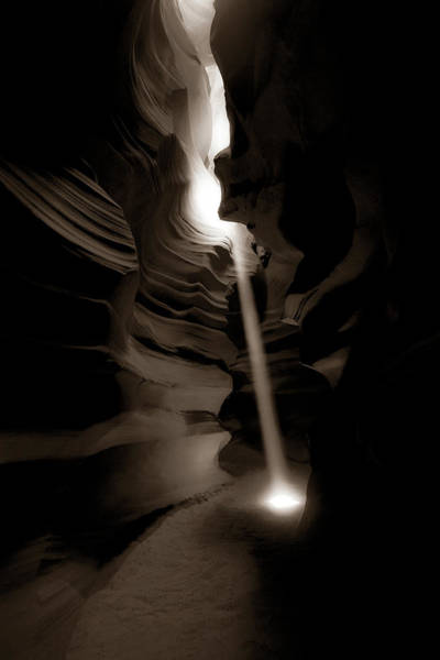 Photograph - Piercing The Darkness - Antelope Canyon Light - Sepia Edition by Gregory Ballos