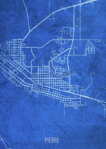 Wall Art - Mixed Media - Pierre South Dakota City Street Map Blueprints by Design Turnpike