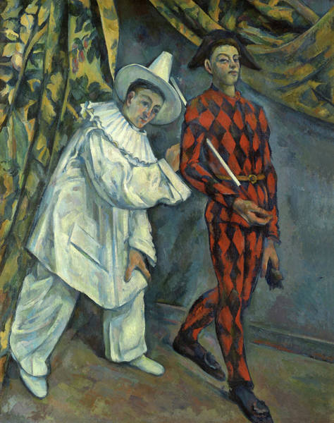 Circus Clown Painting - Pierrot And Harlequin, 1890 by Paul Cezanne