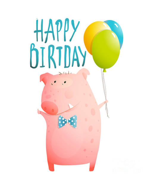 Wall Art - Digital Art - Pig Congratulating With Balloons And by Popmarleo