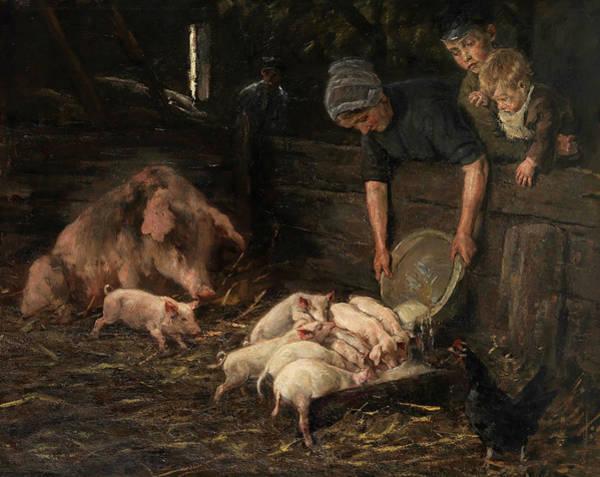 Breeding Painting - Pig Sty, Nursery, 1887 by Max Liebermann