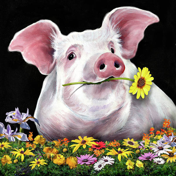Snorting Wall Art - Mixed Media - Pig With Flowers by Anthony Enyedy