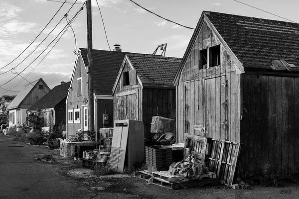 Photograph - Pigeon Cove Fishing Shacks Rockport Ma Bw by David Gordon