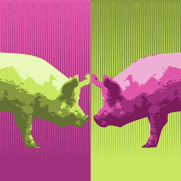 Pig Digital Art - Piggs by Ben Grib Design