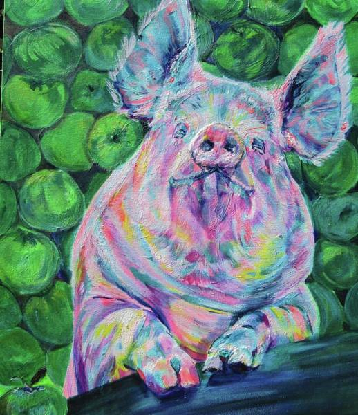 Wall Art - Painting - Piggy And Apples by Karin McCombe Jones