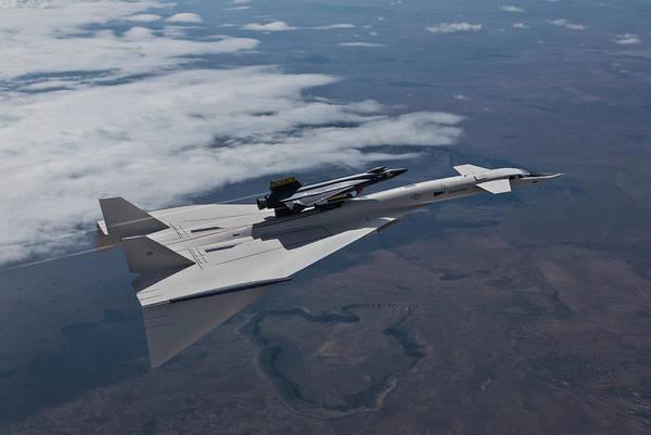 Valkyrie Digital Art - Piggyback X-15-3 Rocket Plane by Erik Simonsen