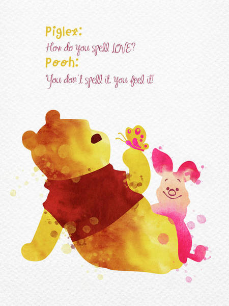 Wall Art - Digital Art - Piglet And Pooh Watercolor 1 by Mihaela Pater