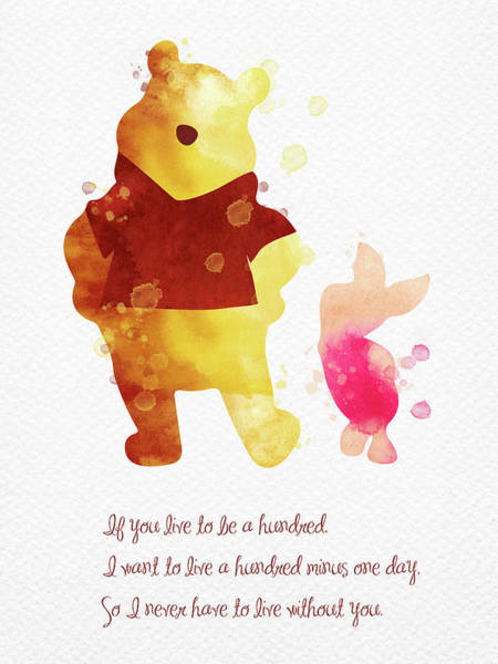 Wall Art - Digital Art - Piglet And Pooh Watercolor 3 by Mihaela Pater