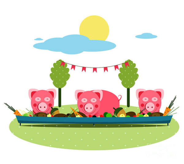 Wall Art - Digital Art - Pigs Eating Food At Farm. Funny Small by Popmarleo