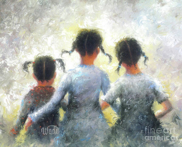 Wall Art - Painting - Pigtails Three Sisters by Vickie Wade