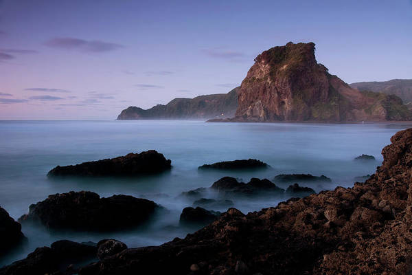 High Tide Photograph - Piha Beach - Lion Rock by Kokkai