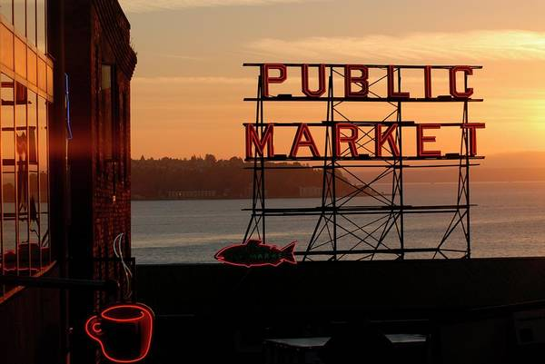 Pikes Place Photograph - Pike Place Market And Puget Sound by Aaron Mccoy / Robertharding