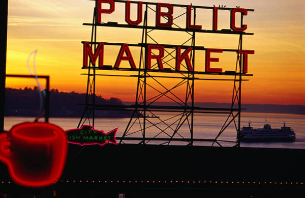 Wall Art - Photograph - Pike Place Market Sign, Seattle by Lonely Planet