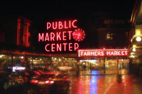 Market Place Photograph - Pike Place Public Market Seattle Washington By Night by Carol Japp