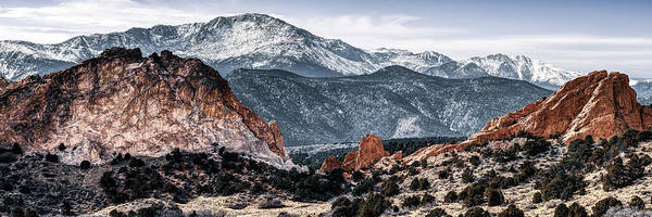 Photograph - Pikes Peak Colorado Springs Mountain Landscape And Garden Of The Gods 3x1 by Gregory Ballos