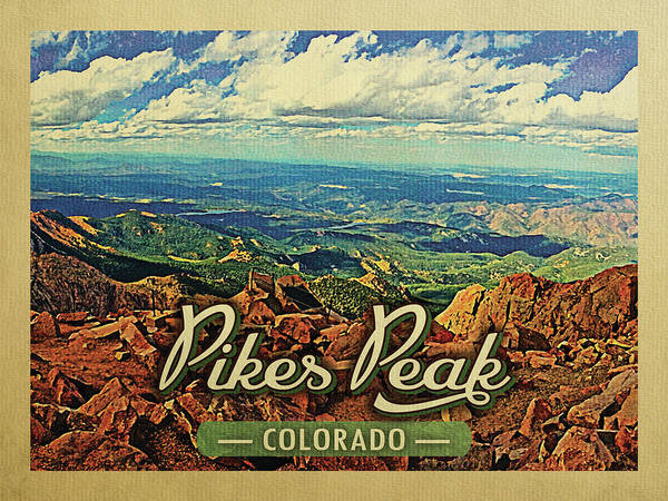 Hiking Digital Art - Pikes Peak Colorado Vintage Travel by Flo Karp