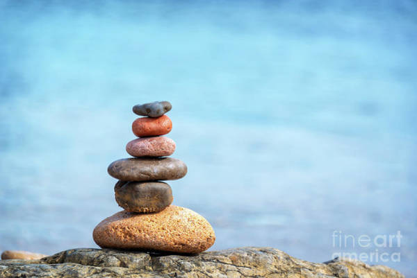 Introspection Photograph - Pile Of Beach Pebbles by Delphimages Photo Creations