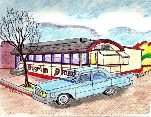 Wall Art - Drawing - Pilgrim Diner Salem Ma by Paul Meinerth