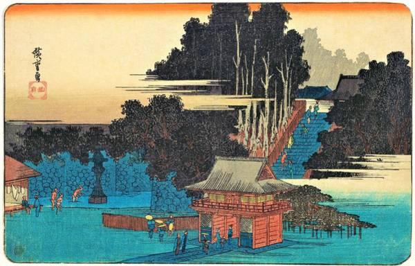Japanese Shrine Painting - Pilgrims At The Fudo Shrine, Meguro by Utagawa Hiroshige